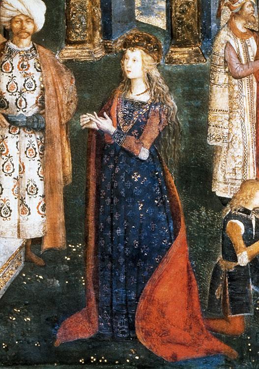 Fresco van Lucrezia Borgia geschilderd door Pinturicchio (c.1454-1513). Borgia Appartementen, Vaticaan, Rome
