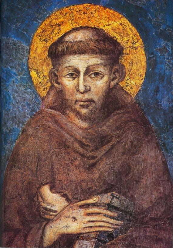 Cimabue, Franciscus van Assisi op een fresco in de benedenkerk van Assisi
