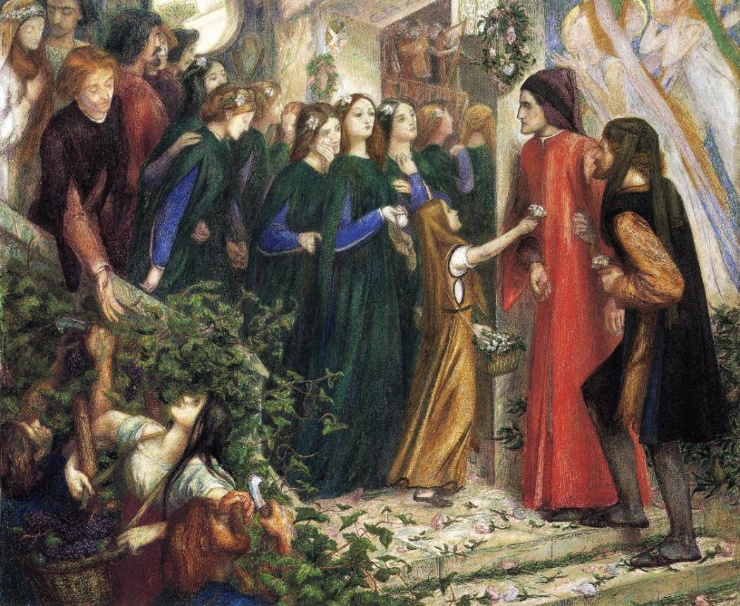 Beatrice ontmoet Dante op een huwelijksfeest, Gabriel Rossetti 1855