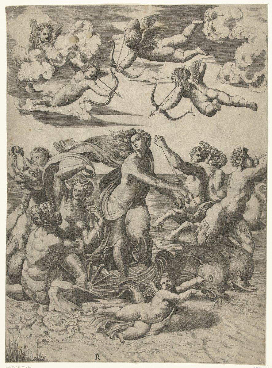 De Triomf van Galatea met tritons en nereïden en putti, Marco Dente, gekopieerd van Marcantonio Raimondi, gebaseerd op een ontwerp van Rafaël. Rijksmuseum