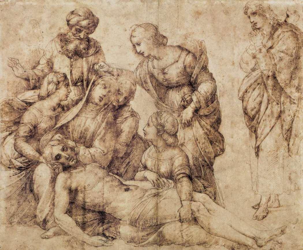 Rafael, De bewening van Christus, c. 1506, Pen en inkt over zwart krijt en stylus, Musée du Louvre, Parijs.