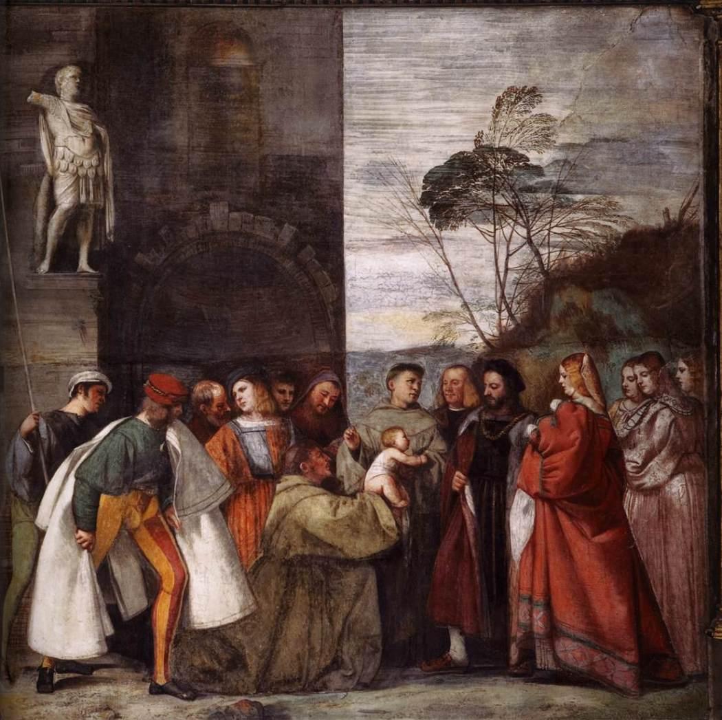 Tiziano Vecellio, Titiaan, Het Wonder van het Pasgeboren Kind, 1511, Scuola del Santo, Padua