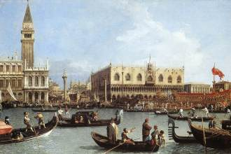 """Canaletto (1697, Venetië, 1768), Terugkeer van de Bucintoro op Hemelvaartsdag, ca. 1732, Olieverf op canvas, Royal Collection, Windsor De bucintoro was het schip van de Doges van Venetië. Tot en met 1798 werd het elk jaar gebruikt om de Doge naar de Adriatische Zee te brengen voor het """"Huwelijk van de Zee"""", een ceremonie die Venetië symbolisch huwde met de zee elk jaar op de """"Festa della Sensa"""" (Hemelvaartsdag)."""