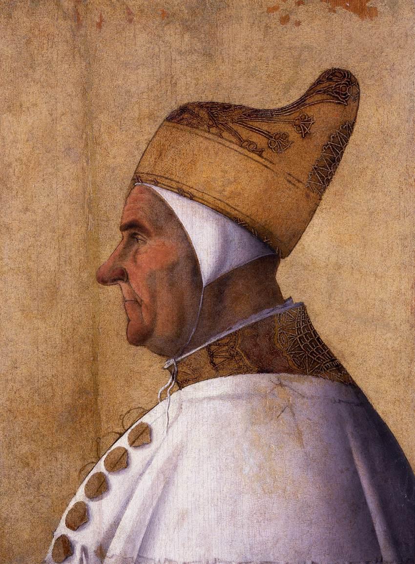 Gentile Bellini (ca. 1429 Venetië, 1507 Venetië), Portret van Doge Giovanni Mocenigo, c. 1478 Tempera op paneel, Museo Correr Venetië