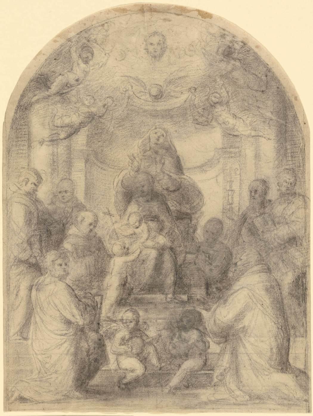 Fra Bartolommeo, Madonna en Kind met heiligen, 1510-1513, Zwart krijt met sporen van wit krijt. The J. Paul Getty Museum Los Angeles