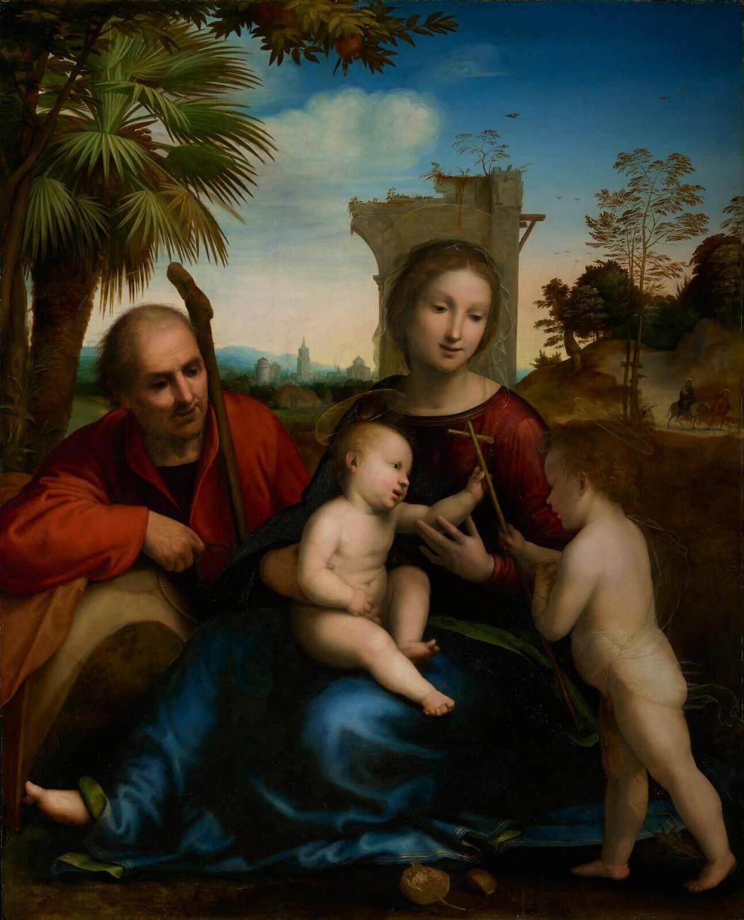 Fra Bartolommeo, Rust op de vlucht naar Egypte met Johannes de Doper, rond 1509, Olieverf op paneel, The J. Paul Getty Museum, Los Angeles