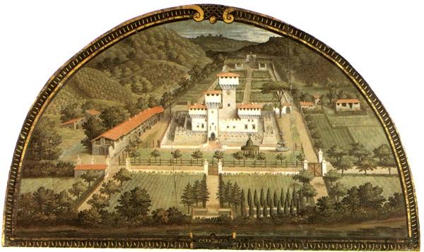 De Villa di Cafaggiolo door Justus Utens, in de Villa di Artimino