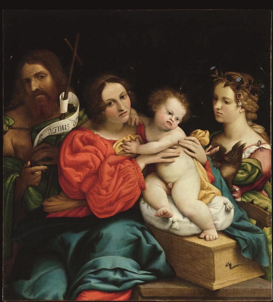Lorenzo Lotto, Maria met Kind en Johannes de Doper en Catharina van Alexandrië, 1522