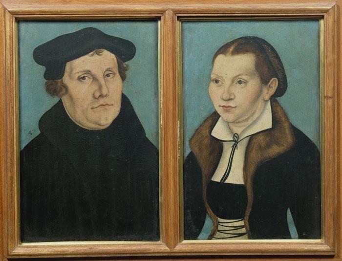 Lukas Cranach il Vecchio, Ritratti di Martin Lutero e Caterina von Bora, olio su tavola, Firenze, Uffizi