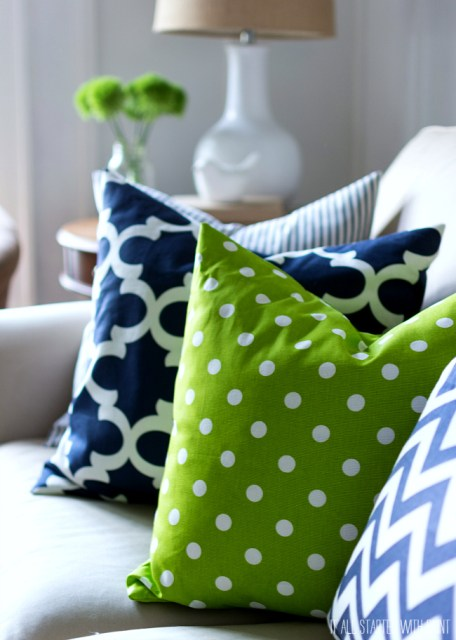 Navy and Green Living Room Decor
