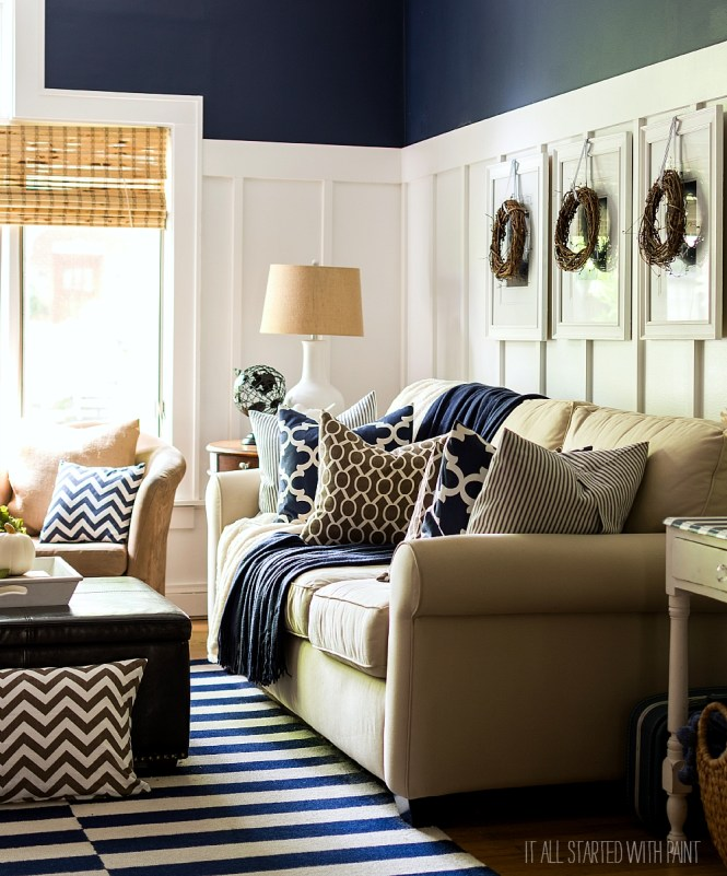 Fall Decor Ideas In Navy White Board And Batten Living Room With Painted
