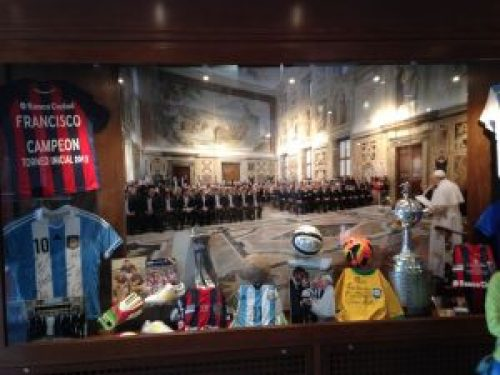 Pope Francis Soccer Display