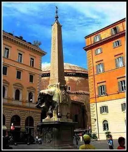 Obelisk in Piazza Santa Maria Sopra Minerva Rome Italy