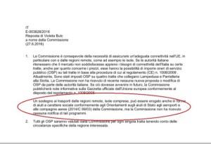 Nessuna notifica di tali programmi risposta Commissione Europea