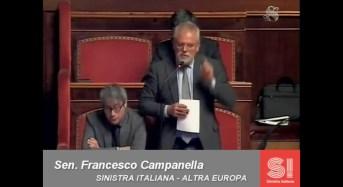 """Il senatore Francesco Campanella di """"Sinistra Italiana-Altra Europa"""" interviene in Senato per l'incendio alla C.A.A.I.R. – VIDEO"""