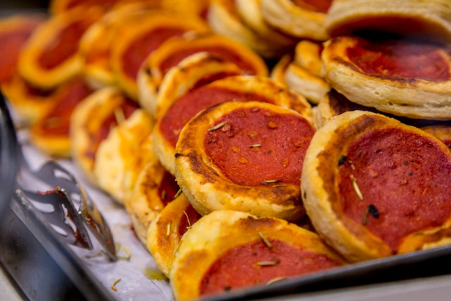 Puff pastry pizzette at Antico Forno Roscioli bakery in Rome