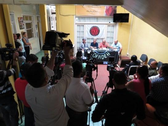 Conferenza stampa UITA a Tegucigalpa (Foto G. Trucchi | Rel-UITA)