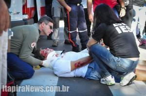 Uma das 'vítimas' foi atendida pela Defesa Civil
