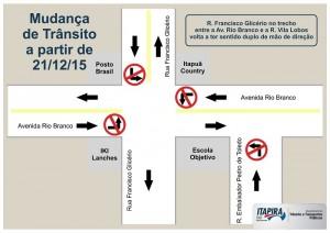 Mapa ilustra alterações viárias na Avenida Rio Branco e Rua Francisco Glicério (Reprodução)