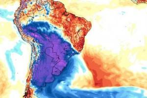 No mapa, a cor roxa mostra a área em que a temperatura cai durante a semana (MetSul Meteorologia/Divulgação)