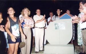 Inauguração da Praça José Soares Soares, na Vila Penha do Rio do Peixe, mostra 'símbolo' utilizado por David Moro Filho (Divulgação)