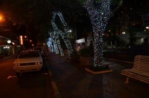 Iluminação natalina na Praça Bernardino de Campos em 2015 (Arquivo)