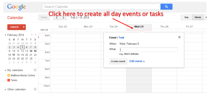create all day events or tasks