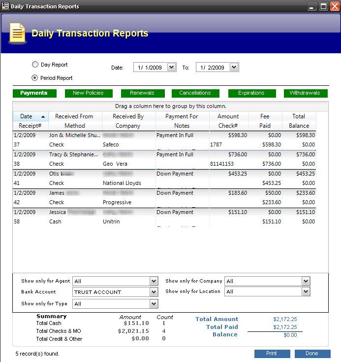 Transaction Account Report