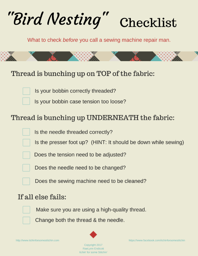 Thread Bunching Up Checklist.  http://www.itchinforsomestitchin.com