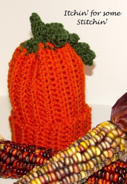 Free Pattern:  Easy Crochet Pumpkin Baby Beanie