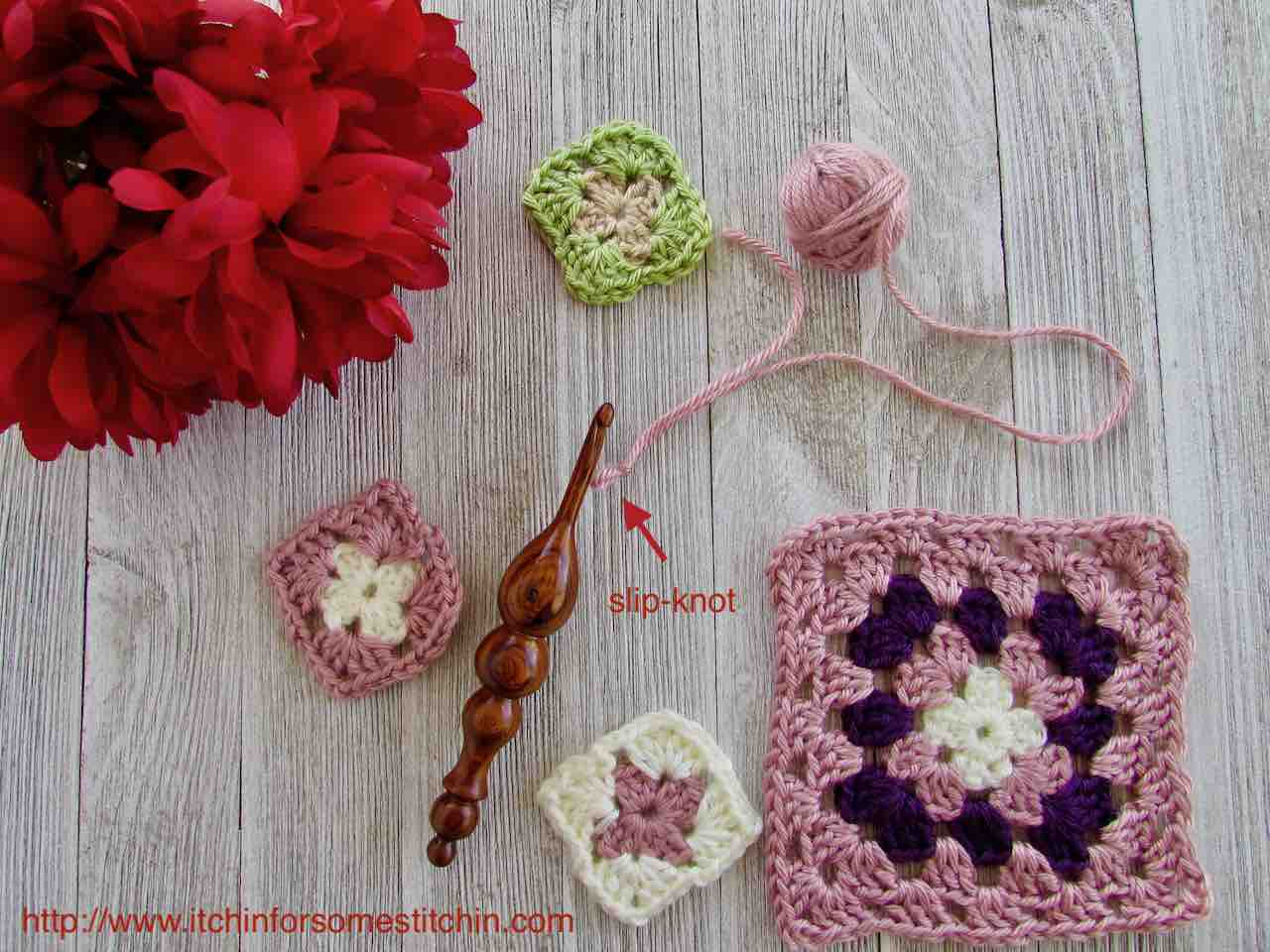 How to Crochet Granny Squares_Make a slip-knot by www.itchinforsomestitchin.com