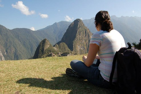 Enjoying the view at Machu Picchu