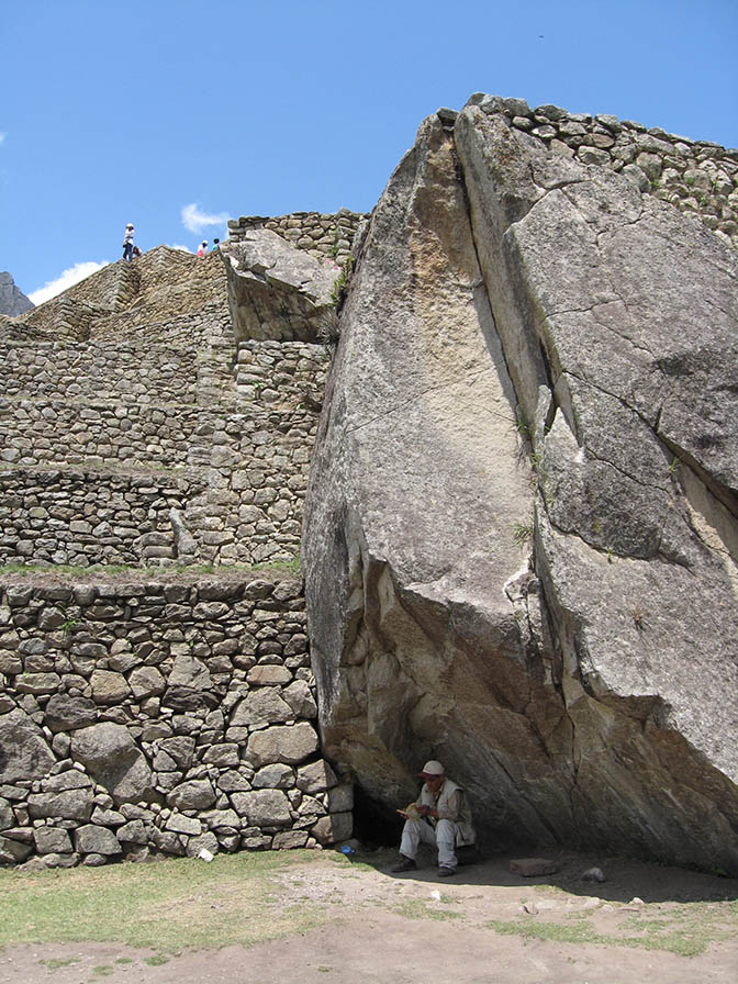 Machu Picchu guard finds some shade.