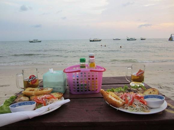 sihanoukville, cambodia dinner on the beach