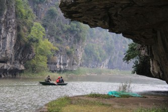 Along the river in Tam Coc, Vietnam