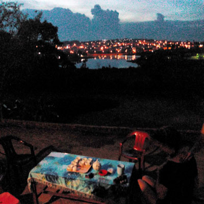 Night time overlooking lake and city in Ea H'leo, Dak Lak, Vietnam