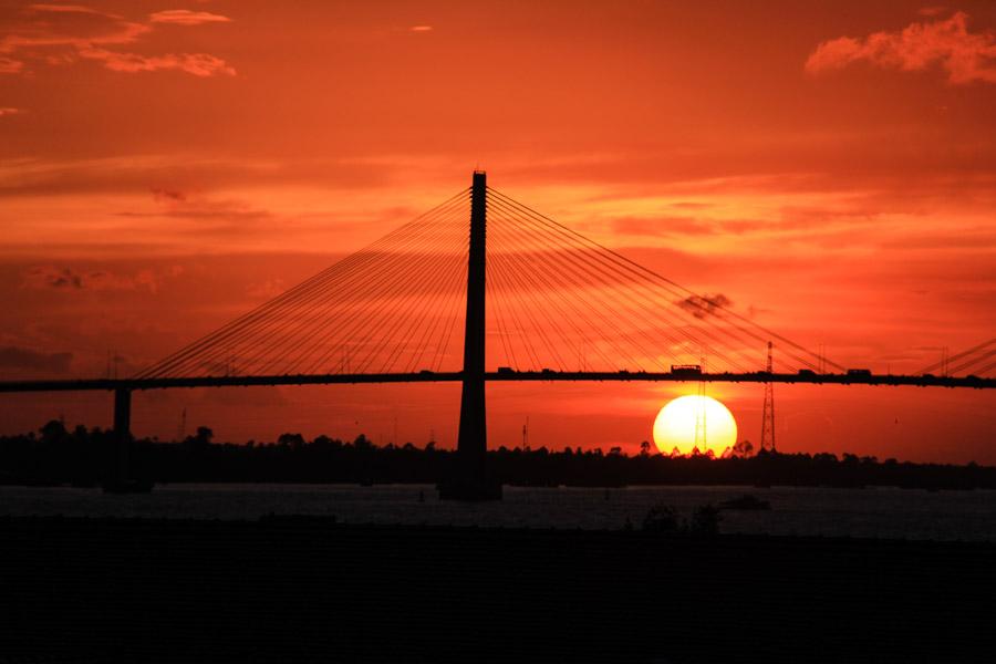 Sunset in My Tho, Vietnam