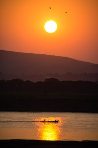 From the Ayarwaddy River View Hotel, the sunset in Mandalay
