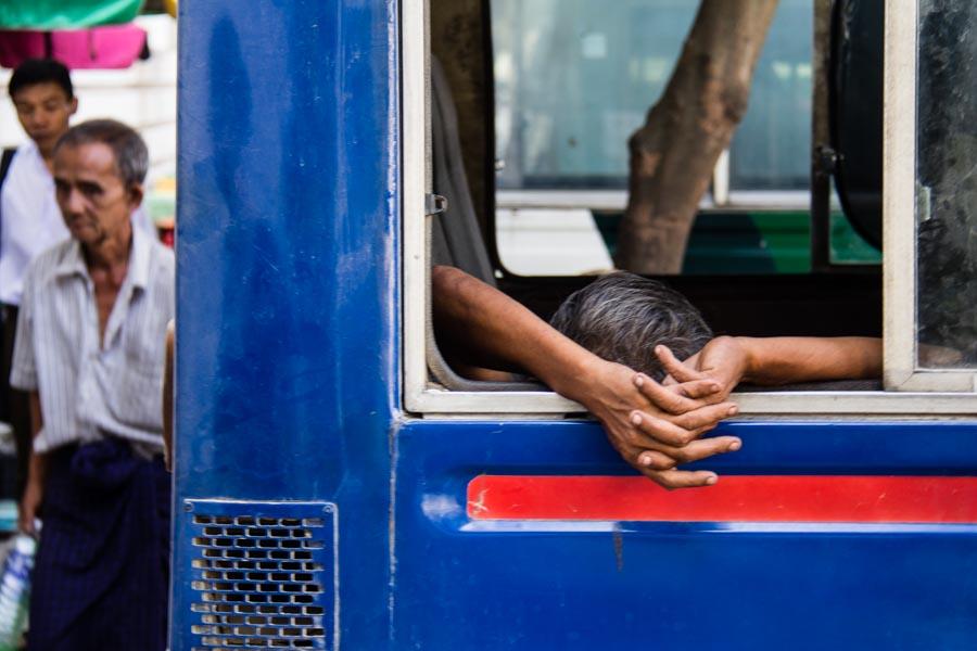 Relaxing on a bus in Myanmar