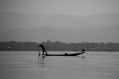 Inle Lake, Myanmar fisherman's silhouette.