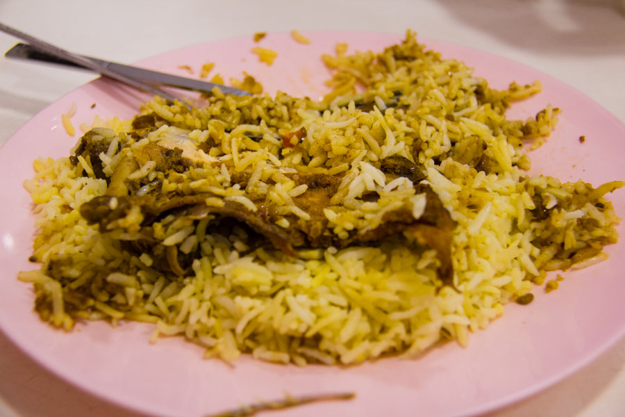 chicken biryani in Yangon, Myanmar