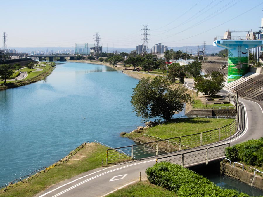 Running track along the Keelung River in Taipei, Taiwan