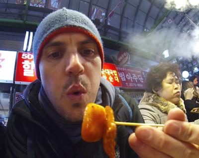 Ryan about to eat Tteokbokki in Gwangjang Market