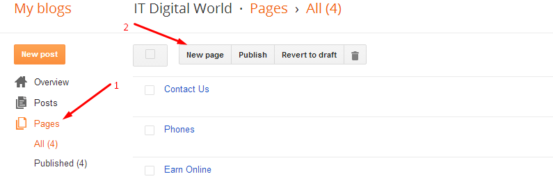 creating page in blogger
