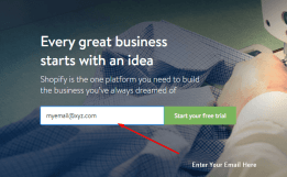 shopify sign up procedure to stat online ecommerce business