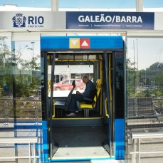 Entering the Transcarioca BRT system from the station in Rio de Janeiro, Brazil