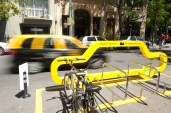 The city also increased cycle parking throughout the city, including taking over a parking spot for one car, that can hold at least 10 bikes.