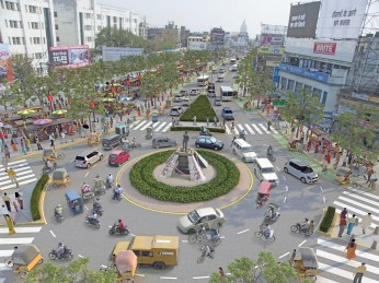 Proposed complete street design of Albert Ekka Chowk, a major intersection on the Main road in Ranchi.