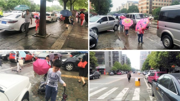 Poor walking conditions for people, especially children in Changsha (2016)