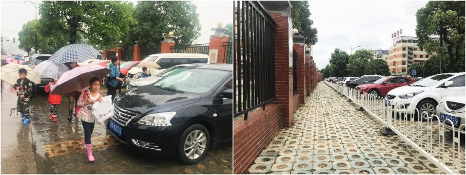 Safe sidewalks around schools with bollards or fences(Left: Before 2016, Right: After 2017)